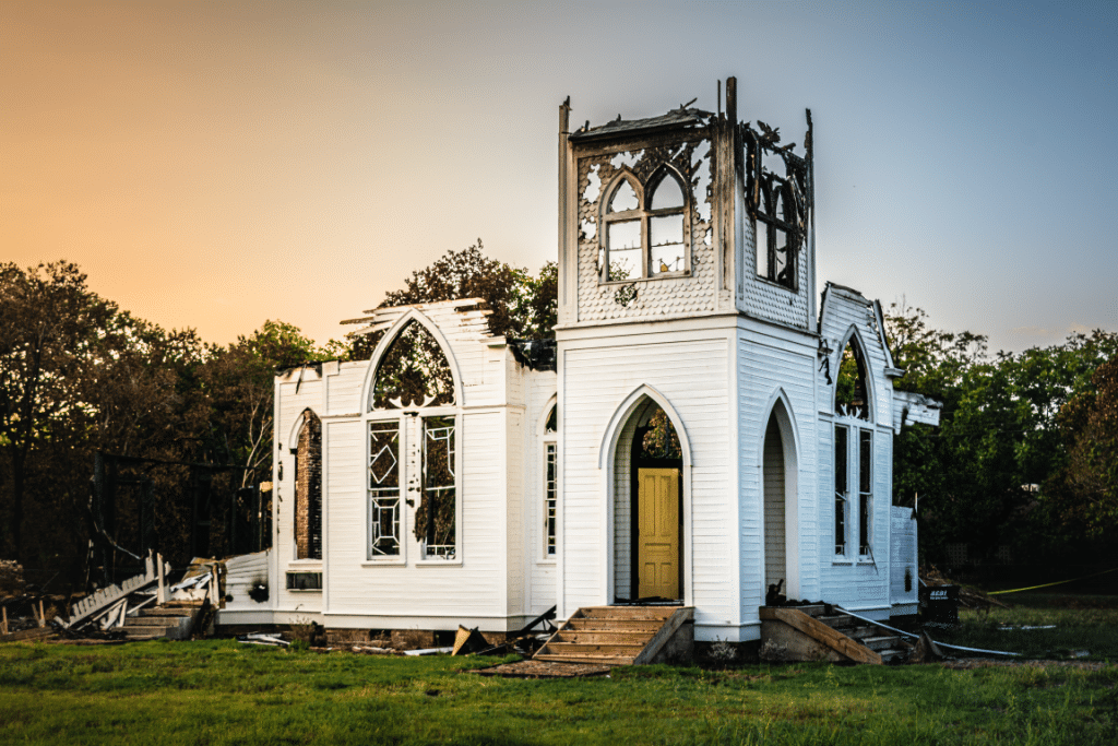 Central Christian Church of Bartlett, Texas after burning in September 2019